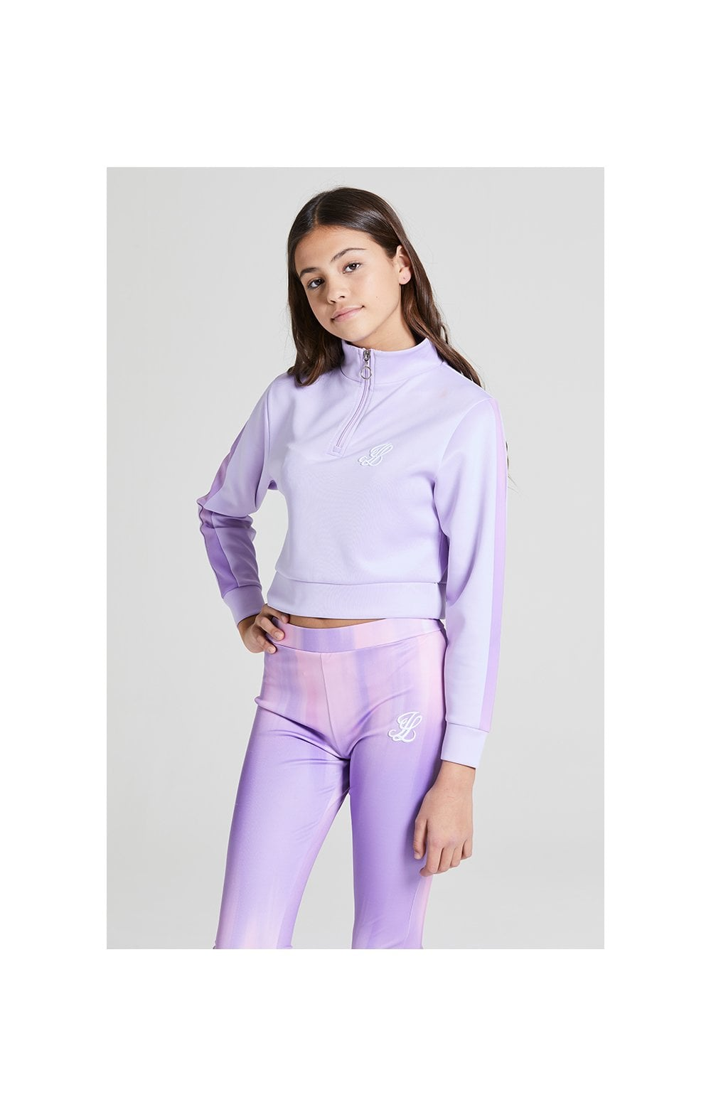 Load image into Gallery viewer, Illusive London Cropped 1/4 Zip Hoodie - Lavender (1)