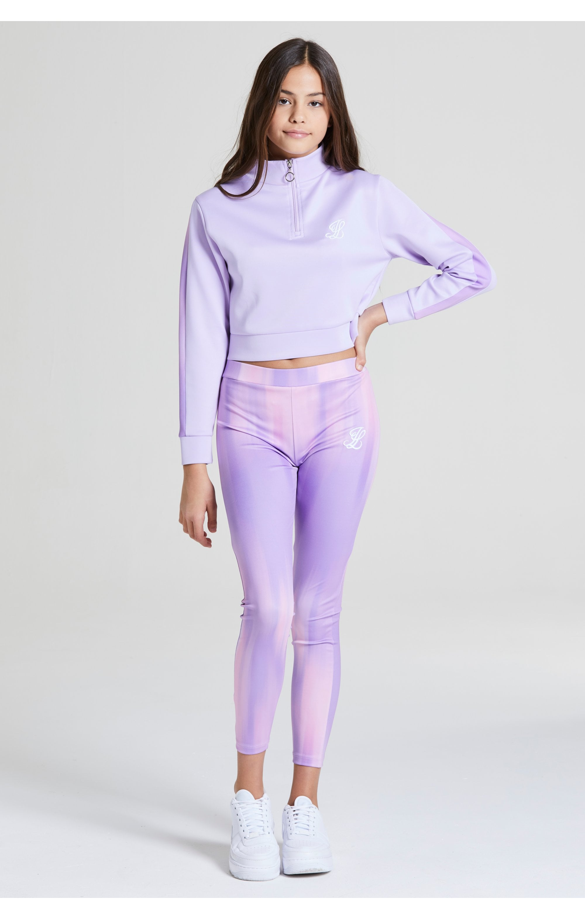 Load image into Gallery viewer, Illusive London Cropped 1/4 Zip Hoodie - Lavender (3)