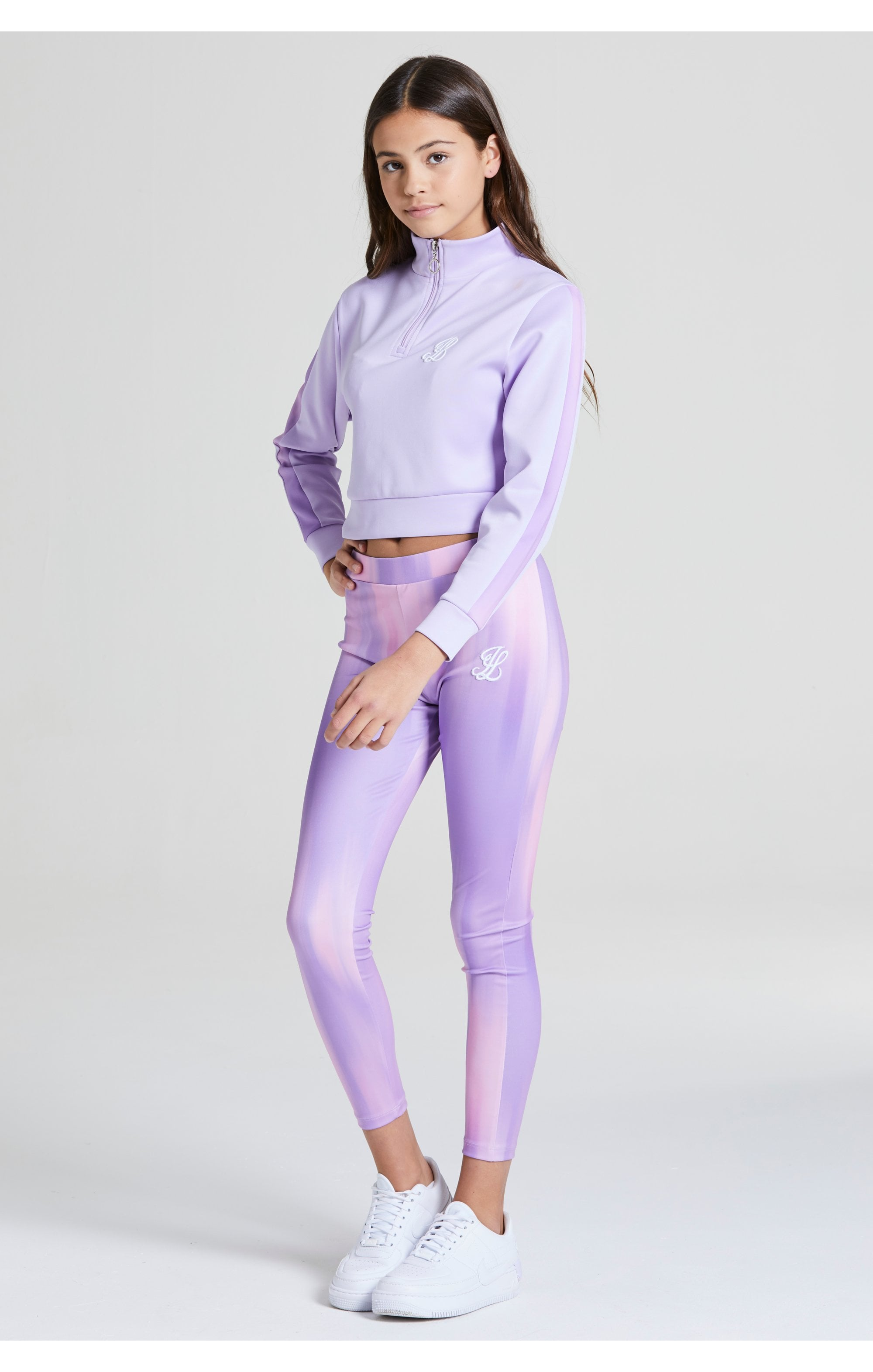 Load image into Gallery viewer, Illusive London Cropped 1/4 Zip Hoodie - Lavender (4)