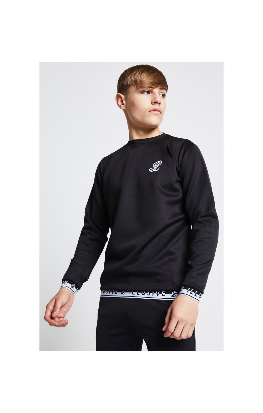 Load image into Gallery viewer, Illusive London Taped Crew Sweater - Black (1)