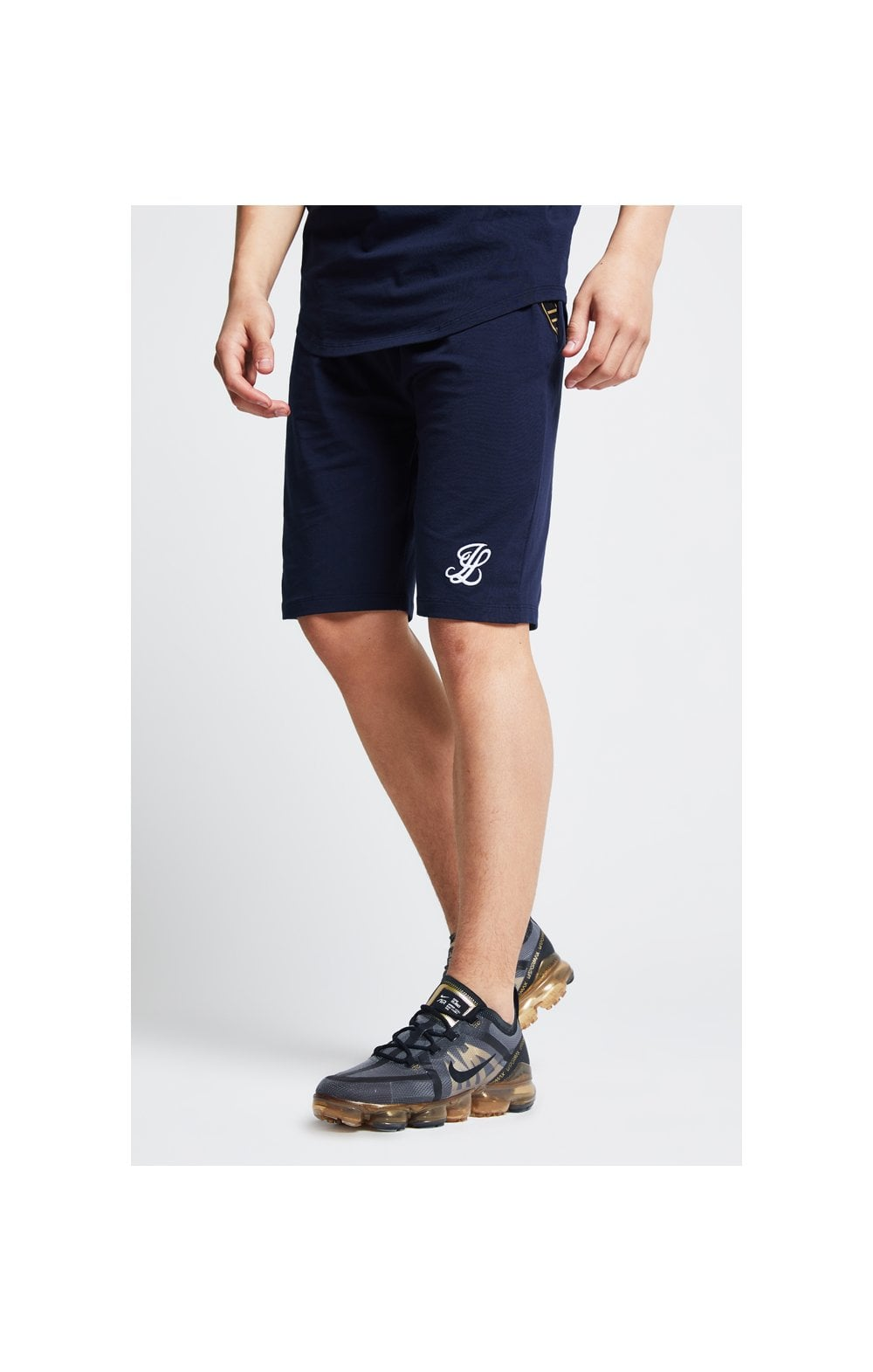 Load image into Gallery viewer, Illusive London Tape Jersey Shorts - Navy (1)
