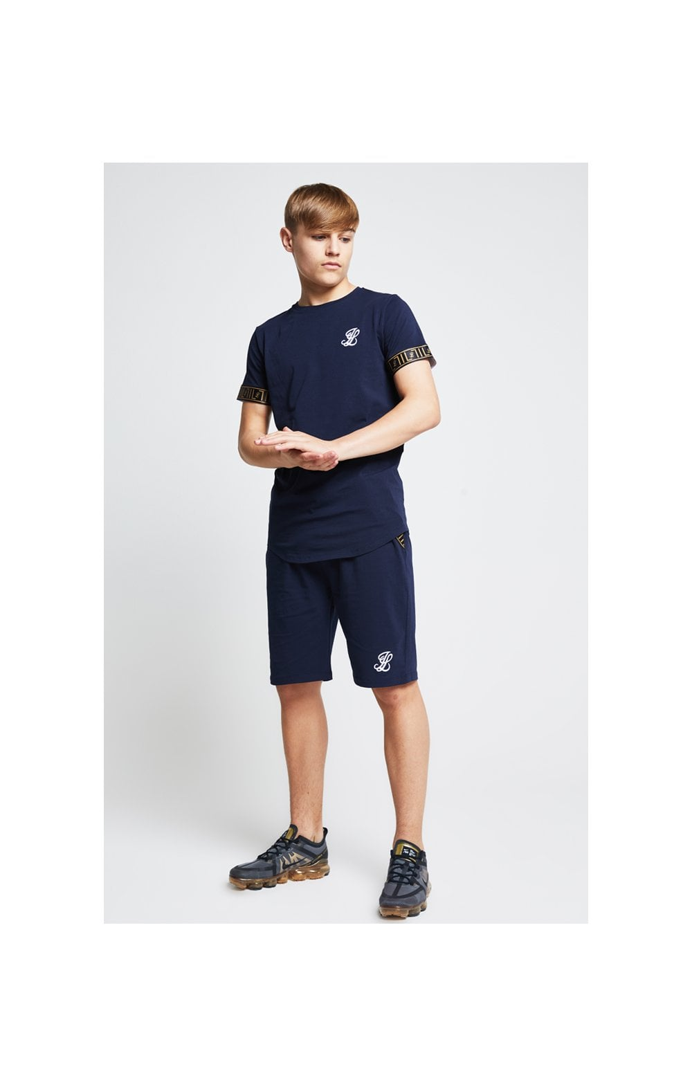 Load image into Gallery viewer, Illusive London Tape Jersey Shorts - Navy (2)