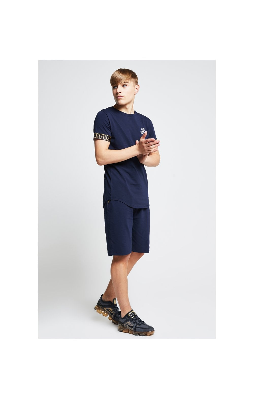 Load image into Gallery viewer, Illusive London Tape Jersey Shorts - Navy (4)