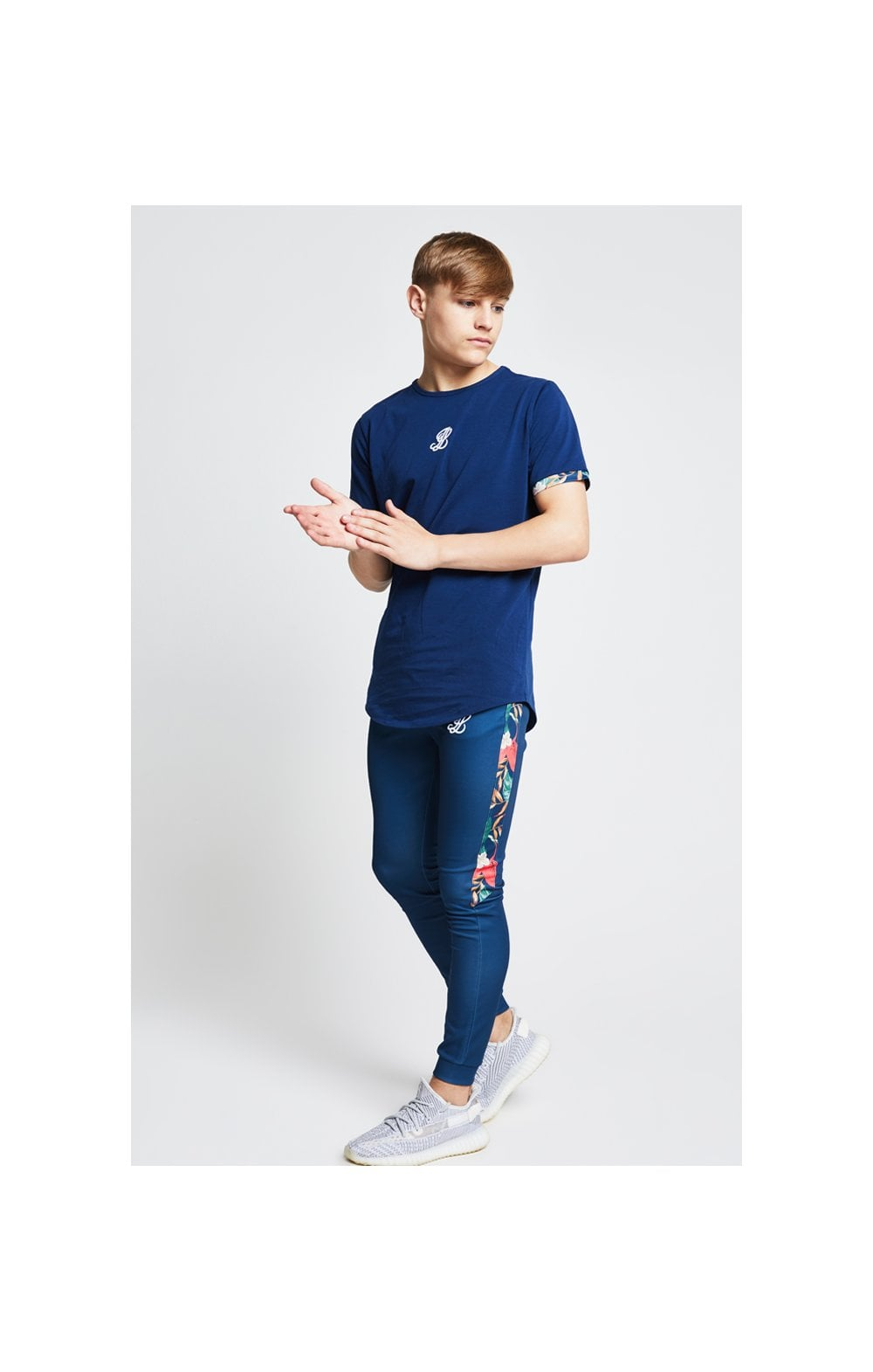 Illusive London Contrast Cuff Tee – Teal & Tropical Leaf (2)