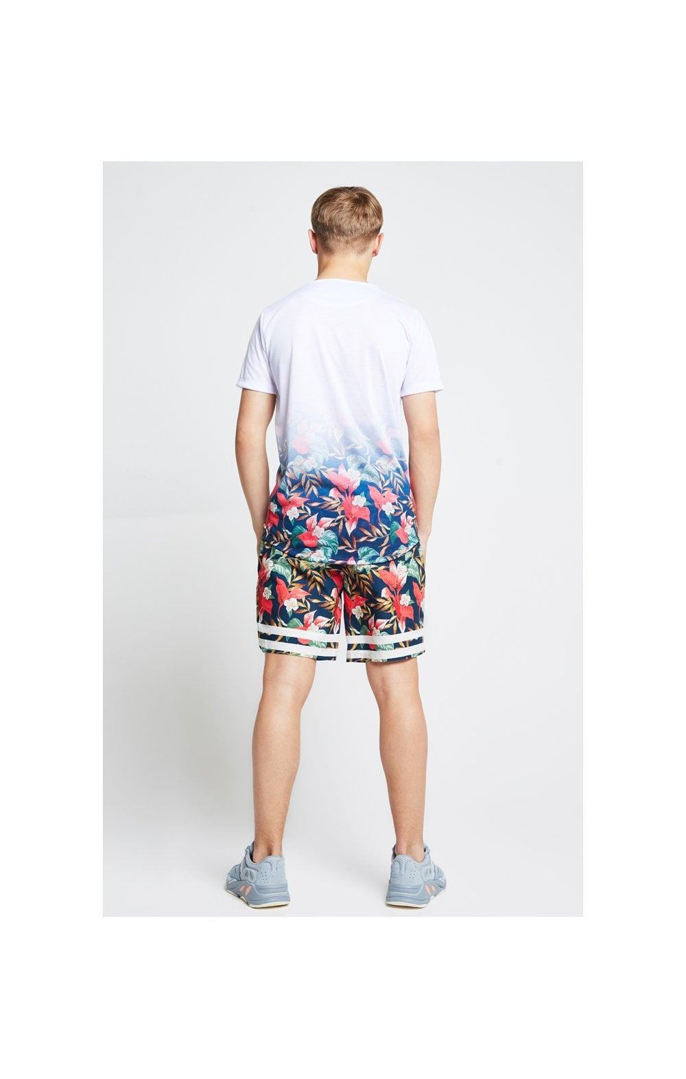 Load image into Gallery viewer, Illusive London Fade Tee – White & Tropical Leaf (5)