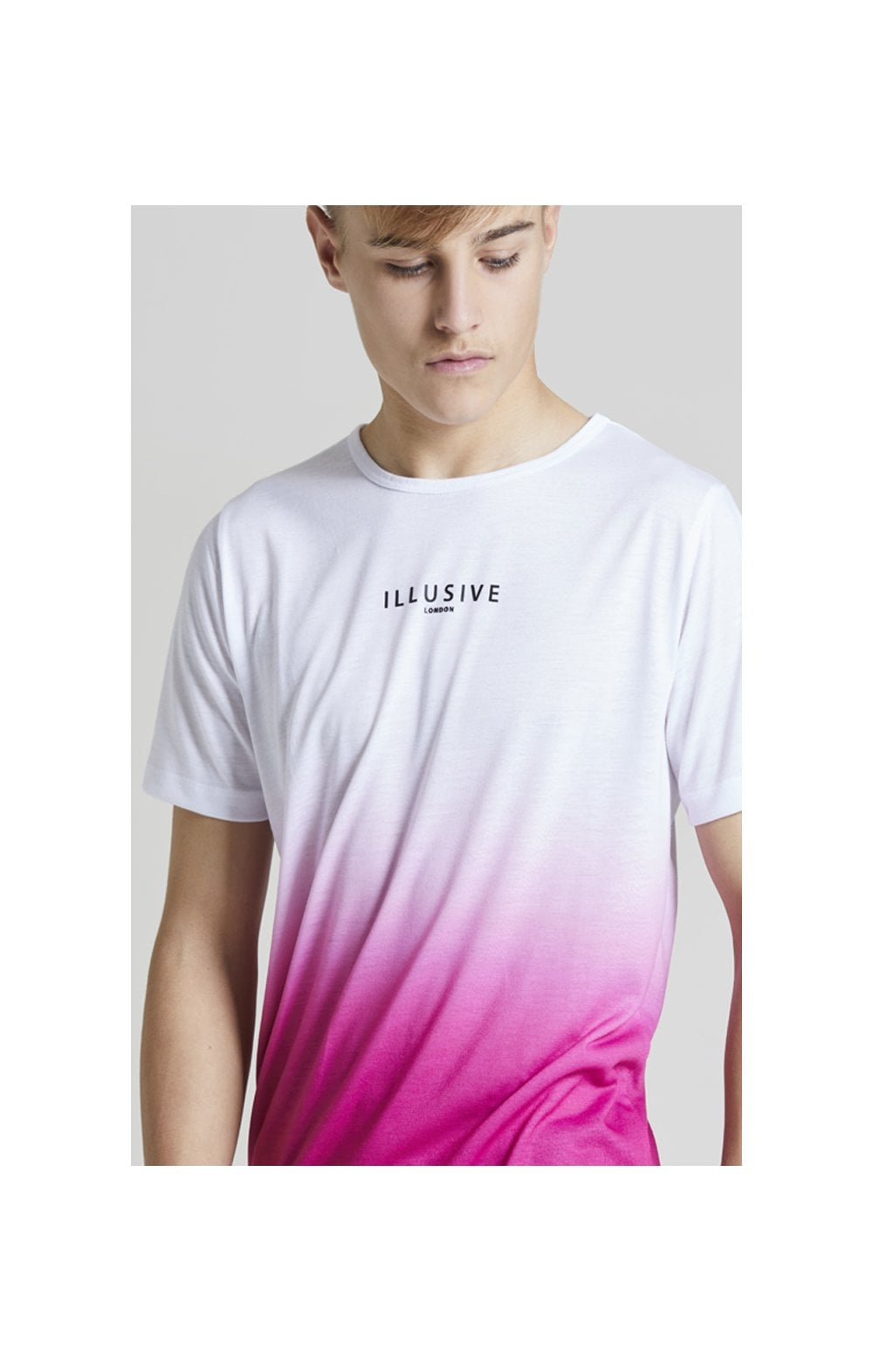 Illusive London Core Fade Tee – White & Pink