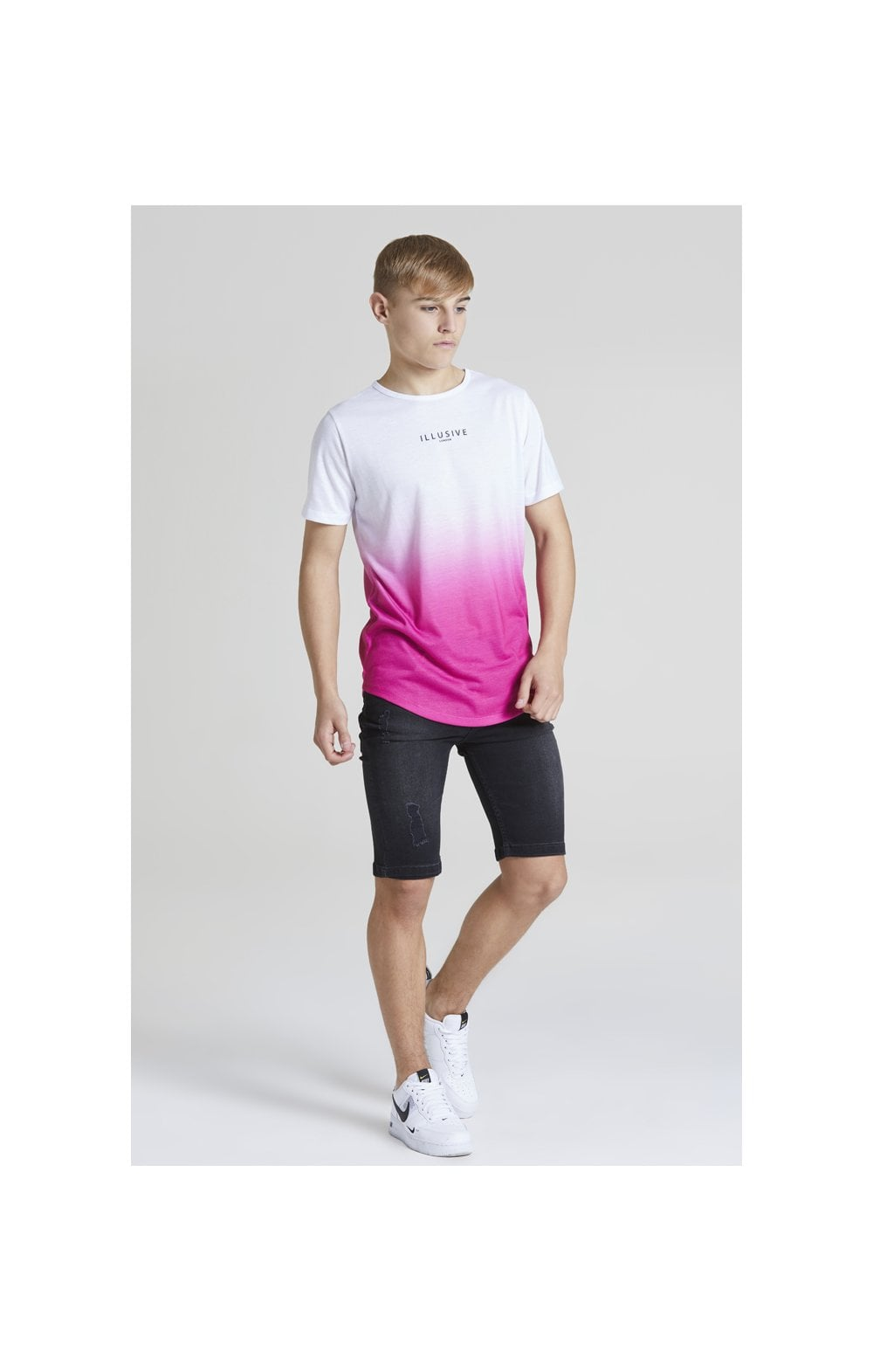 Illusive London Core Fade Tee – White & Pink (3)