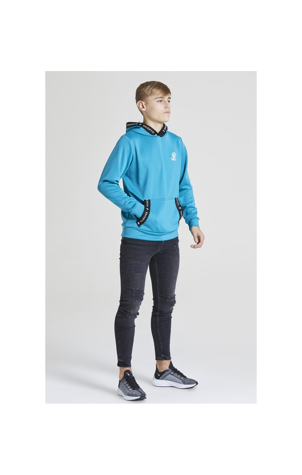 Illusive London Taped Overhead Hoodie - Teal Green (4)