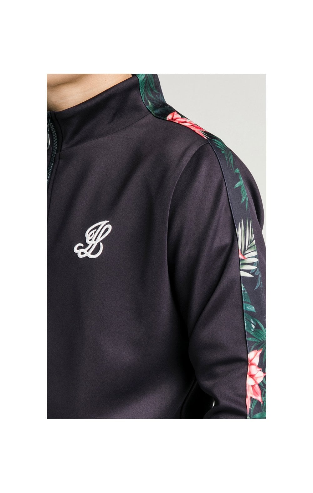 Illusive London Poly Funnel Neck Hoodie - Navy & Floral (1)