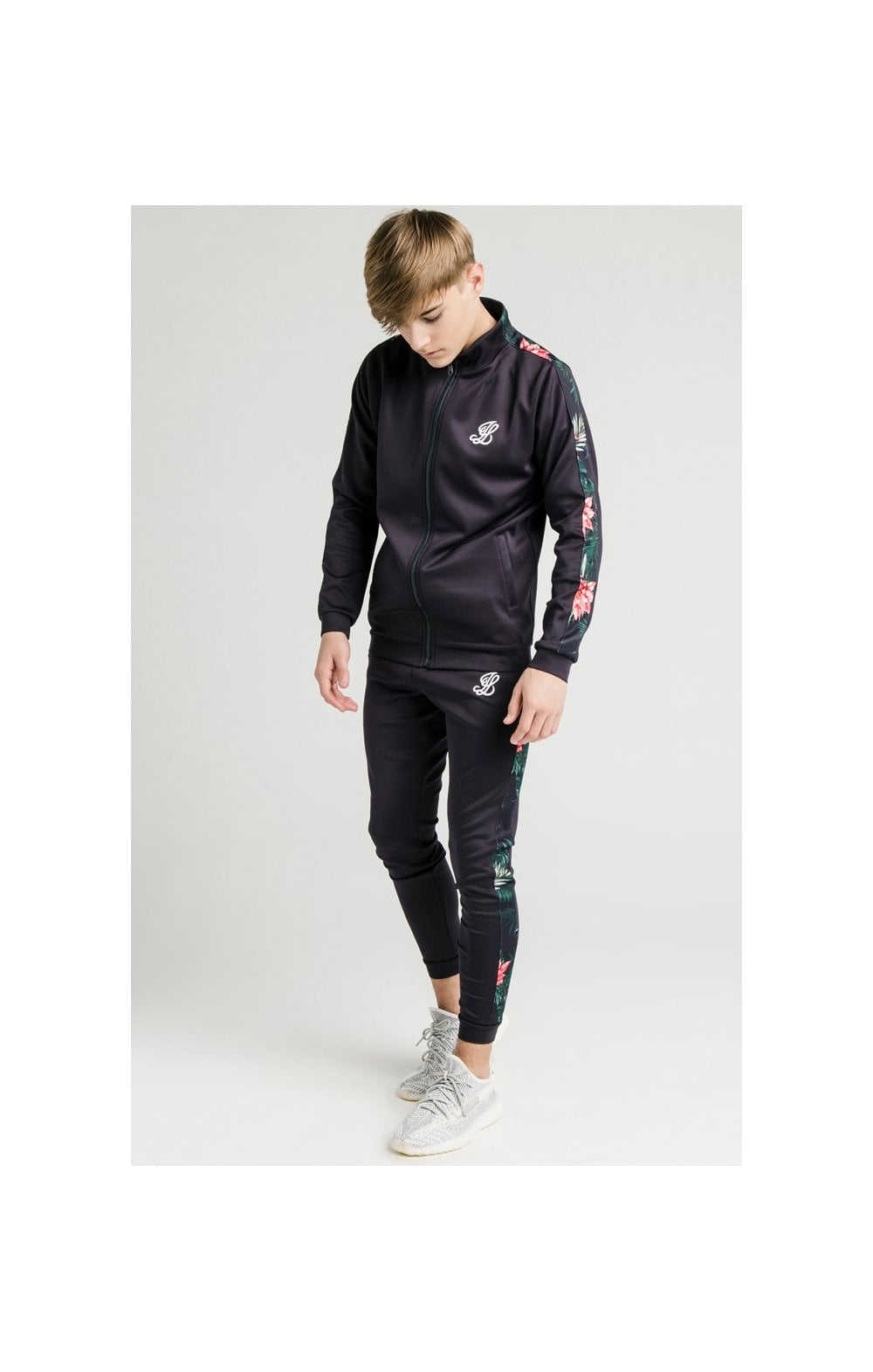 Illusive London Poly Funnel Neck Hoodie - Navy & Floral (3)