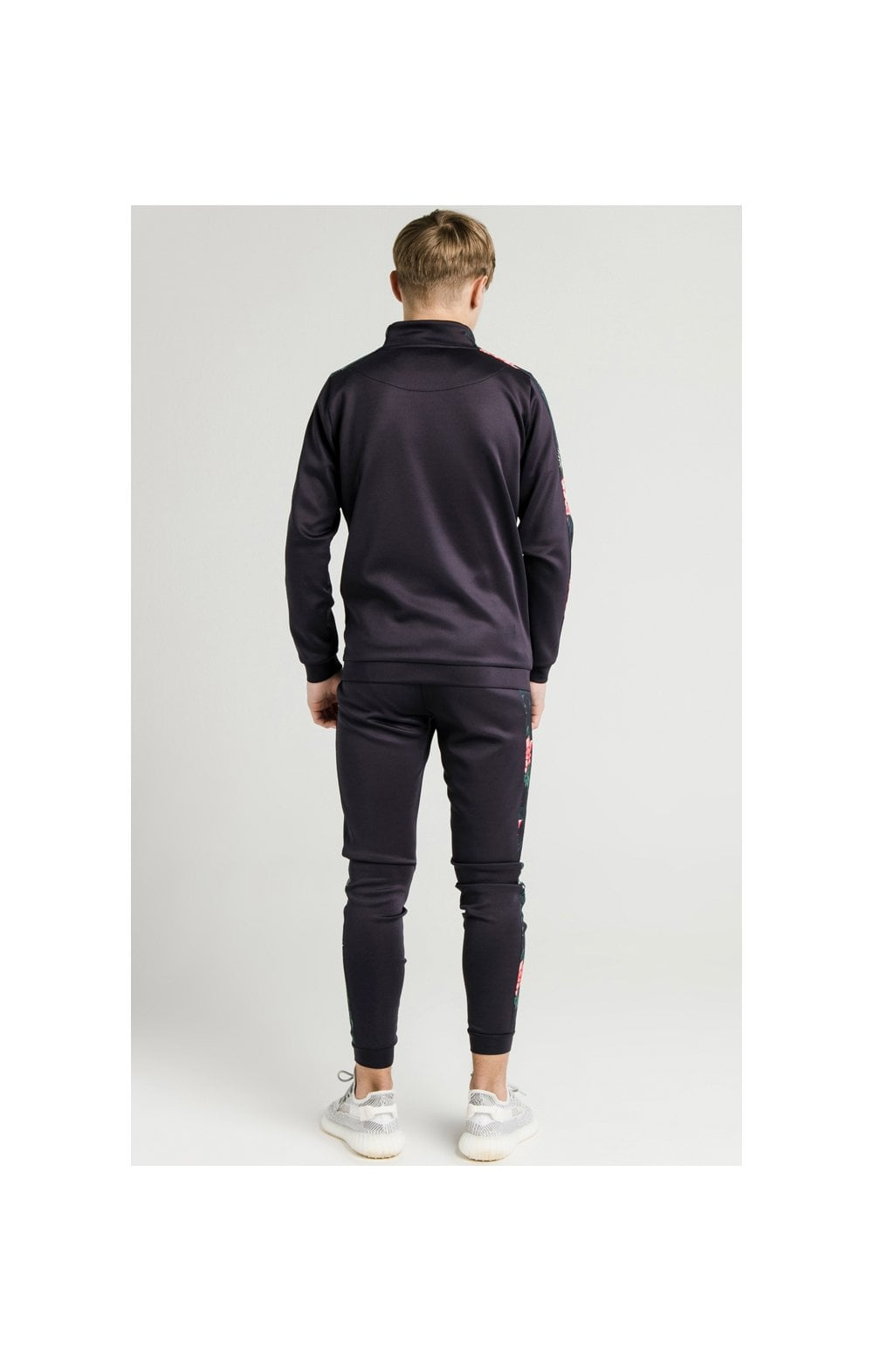 Illusive London Poly Funnel Neck Hoodie - Navy & Floral (5)