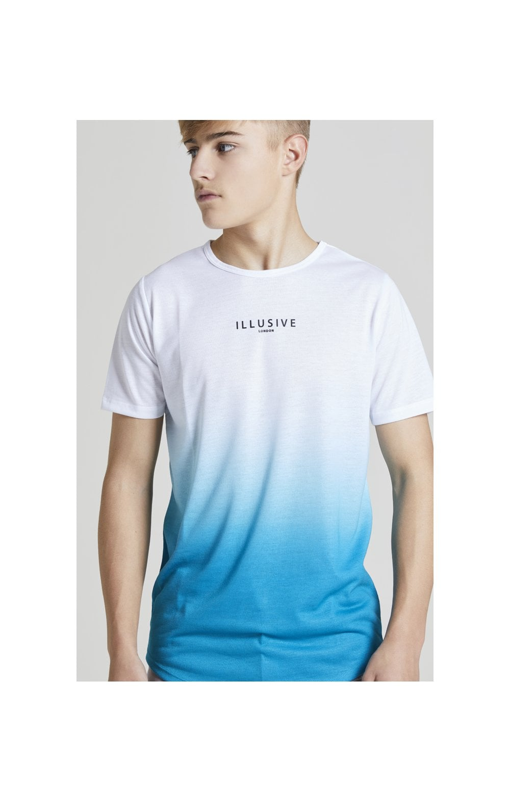 Illusive London Core Fade Tee – White & Teal Green