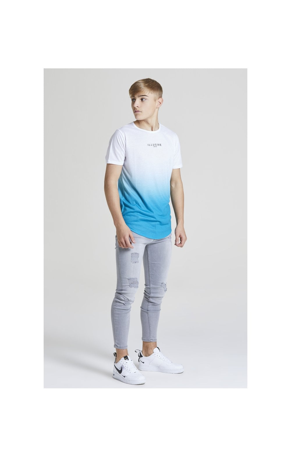 Illusive London Core Fade Tee – White & Teal Green (4)