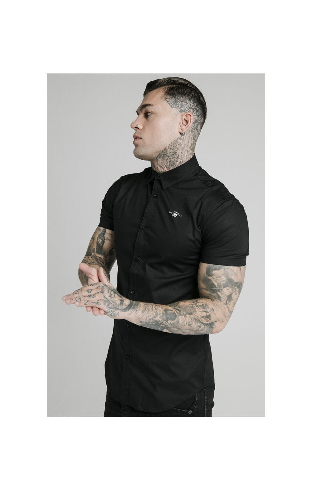 Load image into Gallery viewer, SikSilk S/S Standard Collar Shirt - Black