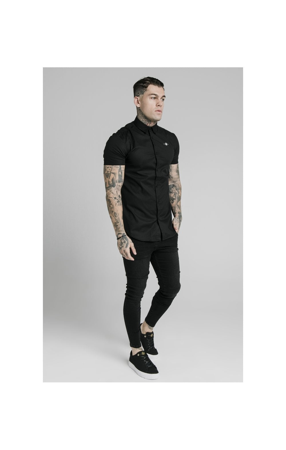 Load image into Gallery viewer, SikSilk S/S Standard Collar Shirt - Black (1)