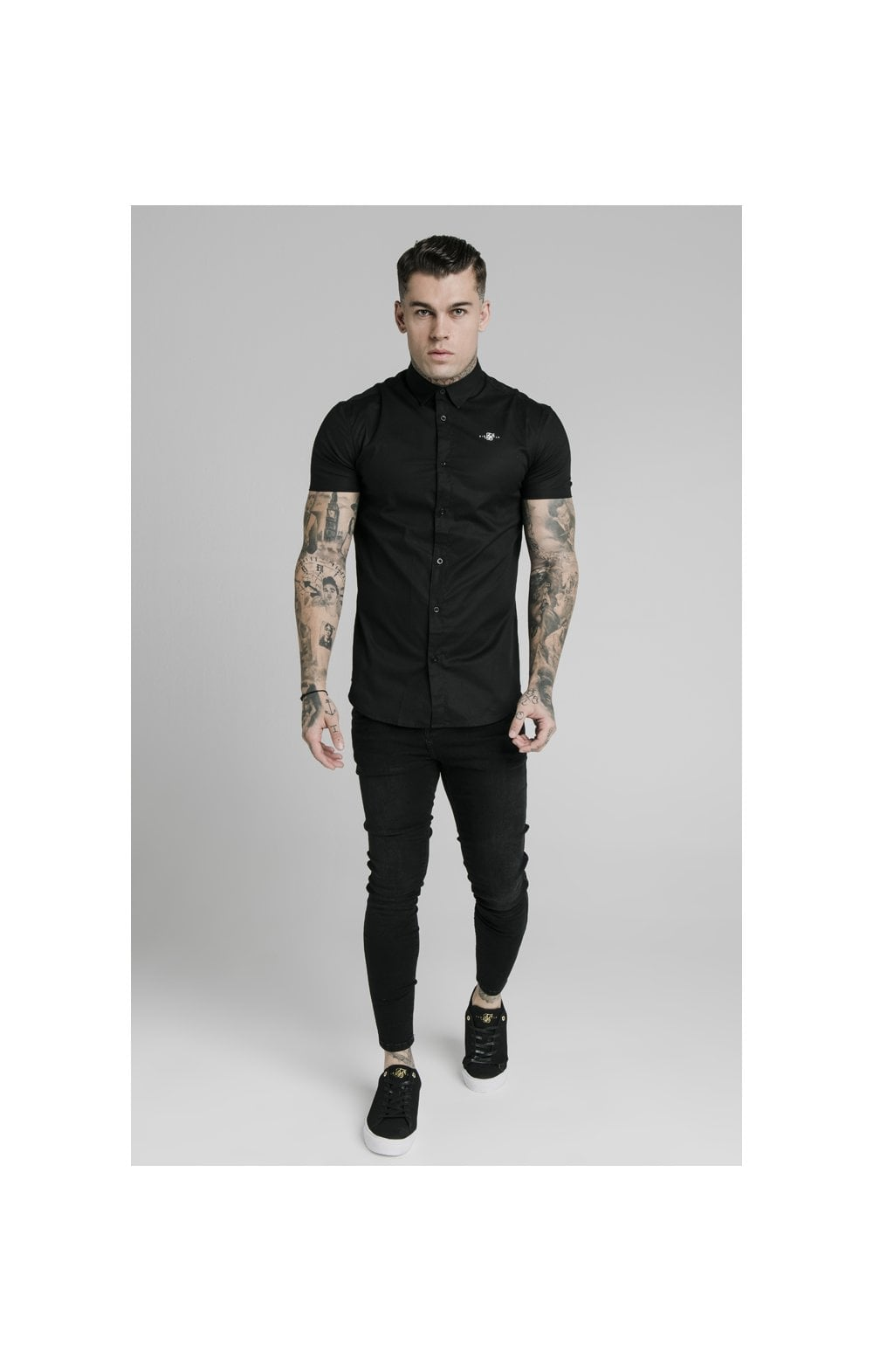 Load image into Gallery viewer, SikSilk S/S Standard Collar Shirt - Black (2)
