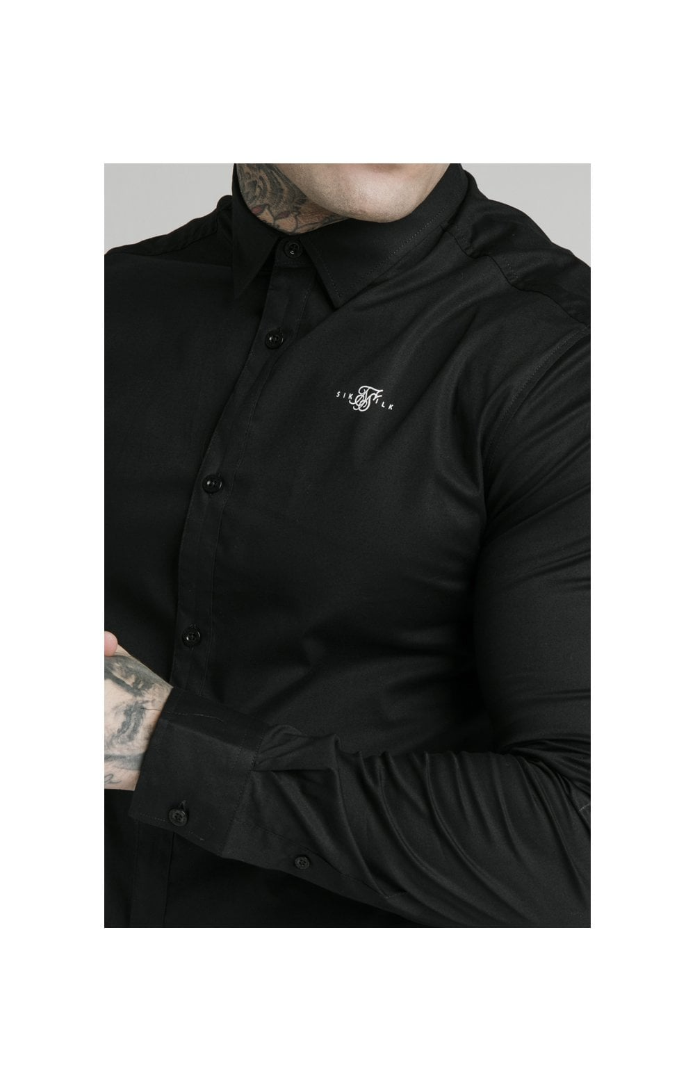 SikSilk L/S Standard Collar Shirt - Black (5)