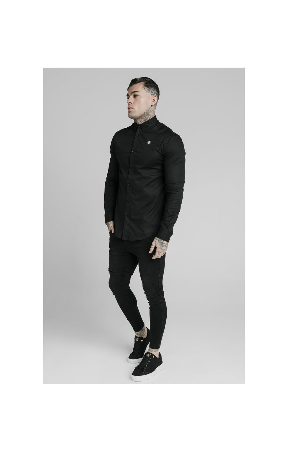 SikSilk L/S Standard Collar Shirt - Black (3)