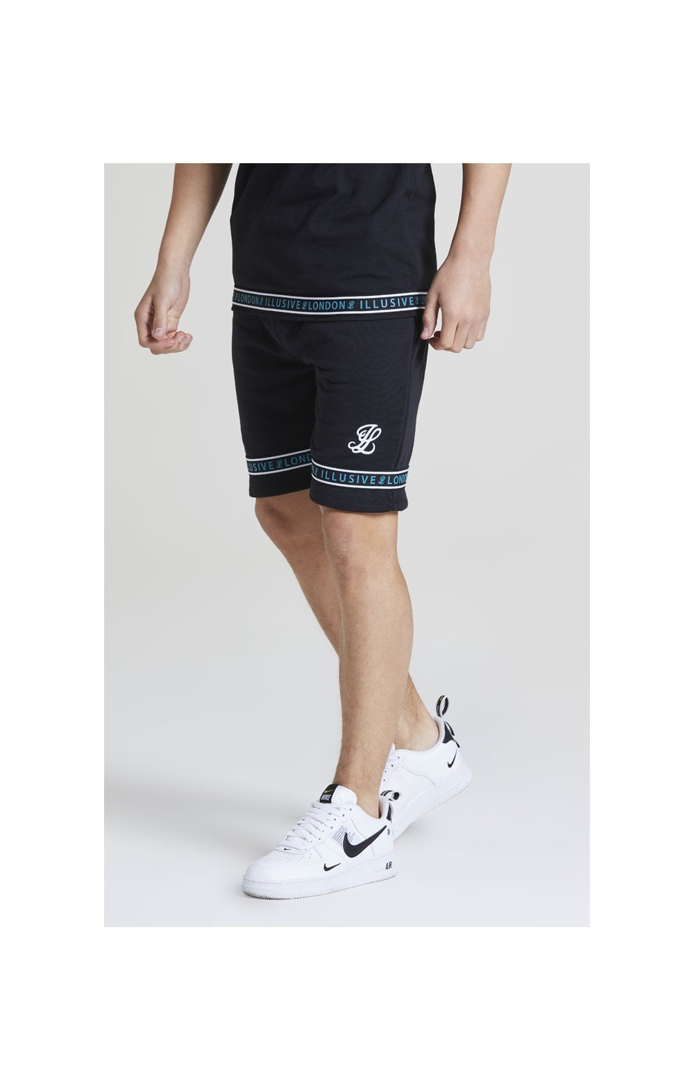 Illusive London Branded Jersey Shorts - Black & Teal Green