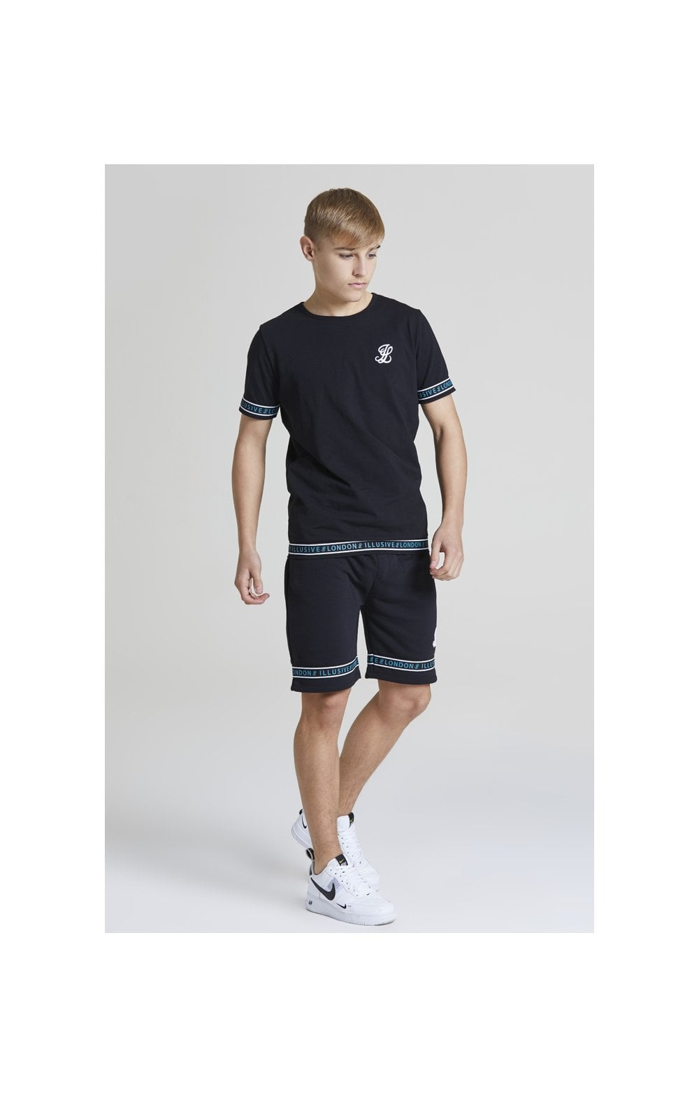 Illusive London Branded Jersey Shorts - Black & Teal Green (3)