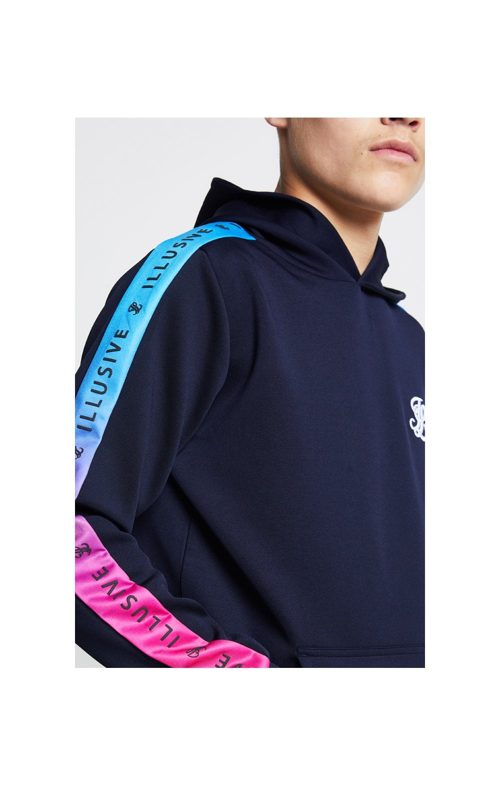 Illusive London Fade Panel Overhead Hoodie - Navy Blue & Pink