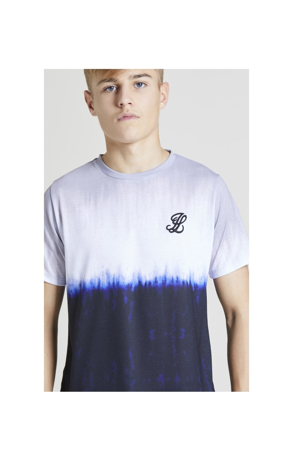 Illusive London Tie Dye Fade Tee - Grey, Navy & white