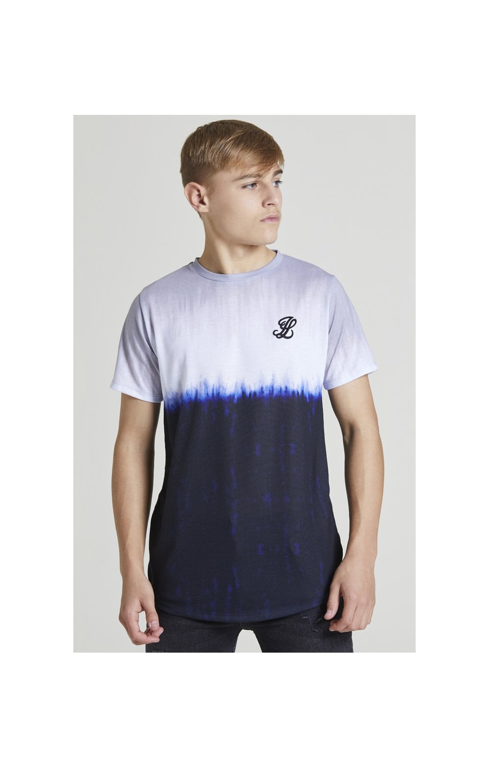 Illusive London Tie Dye Fade Tee - Grey, Navy & white (1)