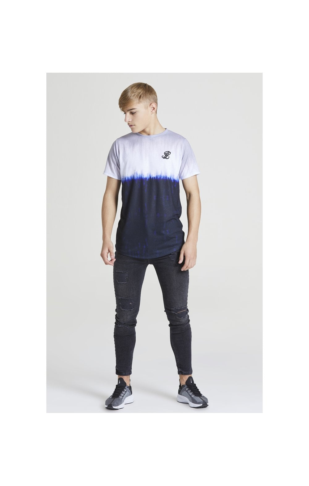Illusive London Tie Dye Fade Tee - Grey, Navy & white (2)