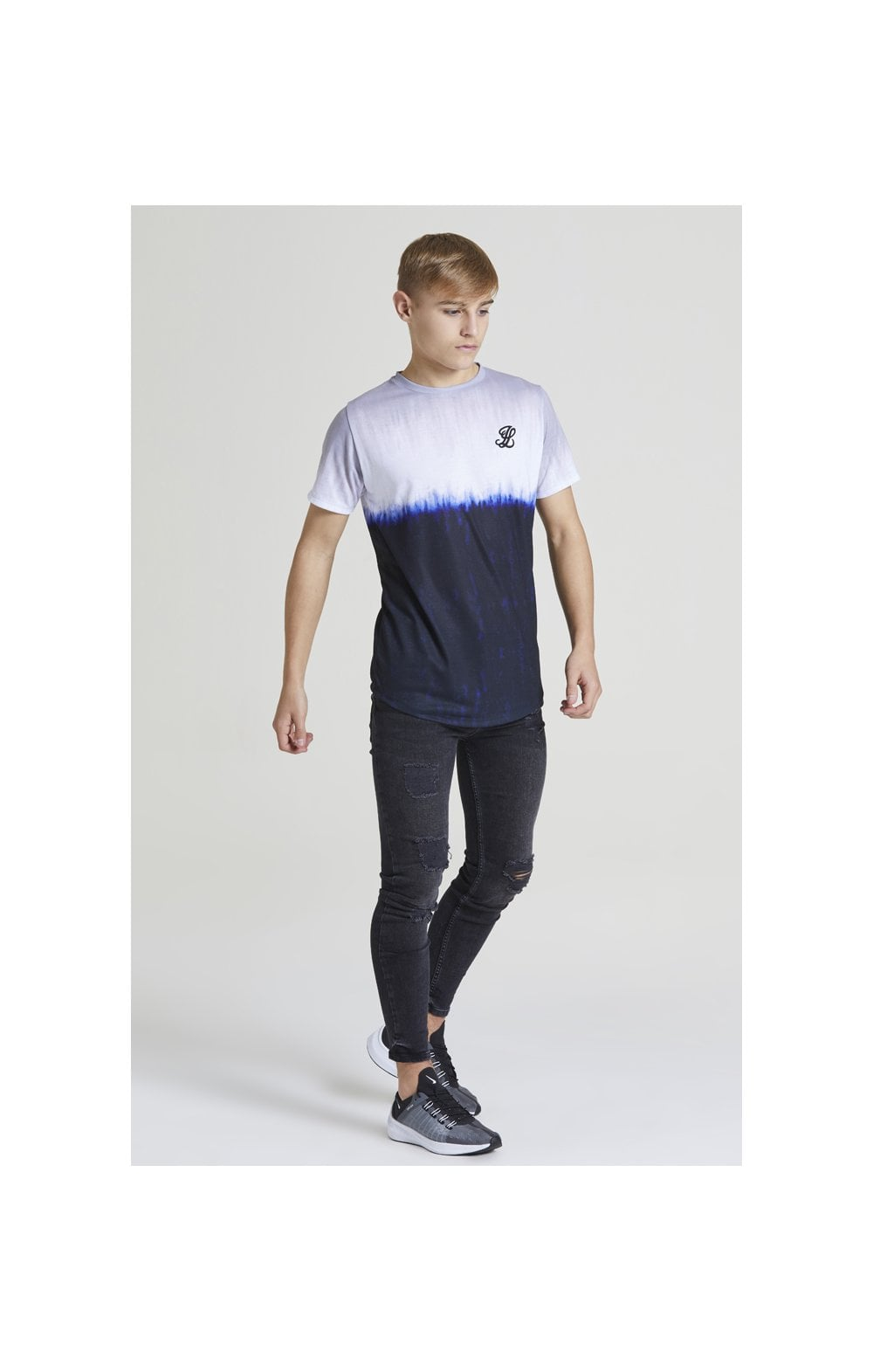 Illusive London Tie Dye Fade Tee - Grey, Navy & white (3)