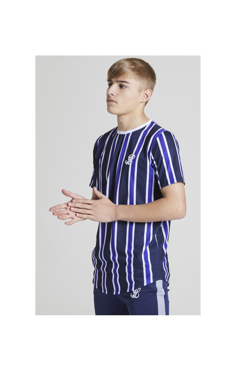Load image into Gallery viewer, Illusive London Stripe tee - Navy, Purple & White (2)