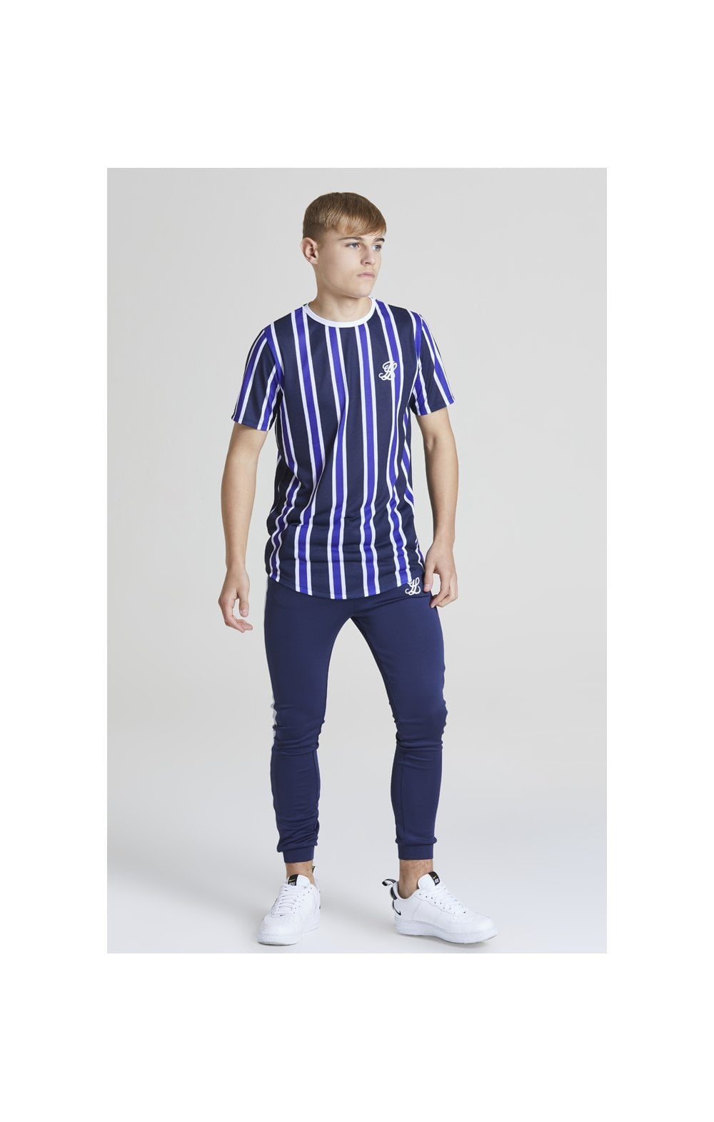 Load image into Gallery viewer, Illusive London Stripe tee - Navy, Purple & White (3)