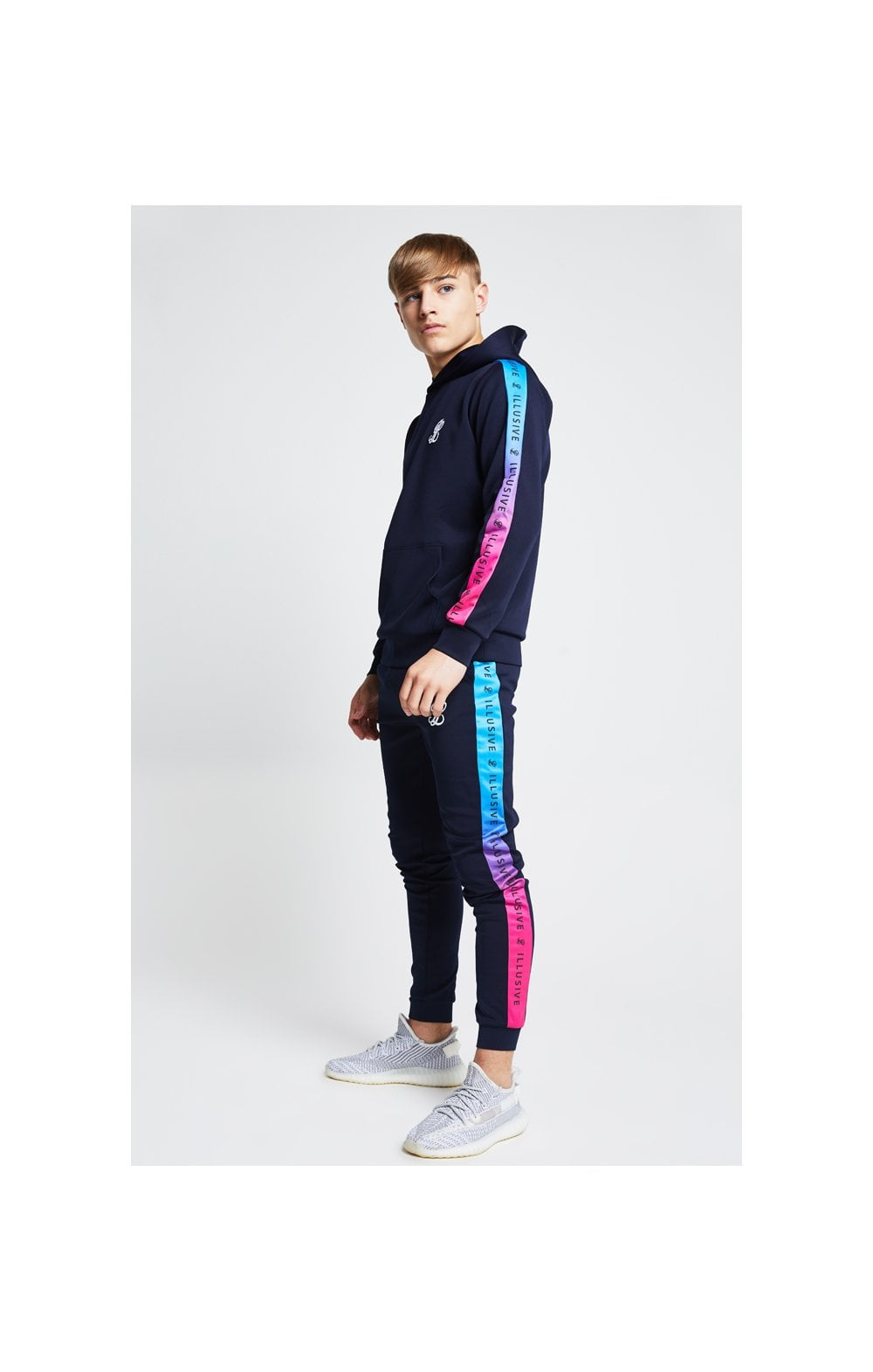 Illusive London Fade Panel Cuffed Joggers - Navy & Pink (2)