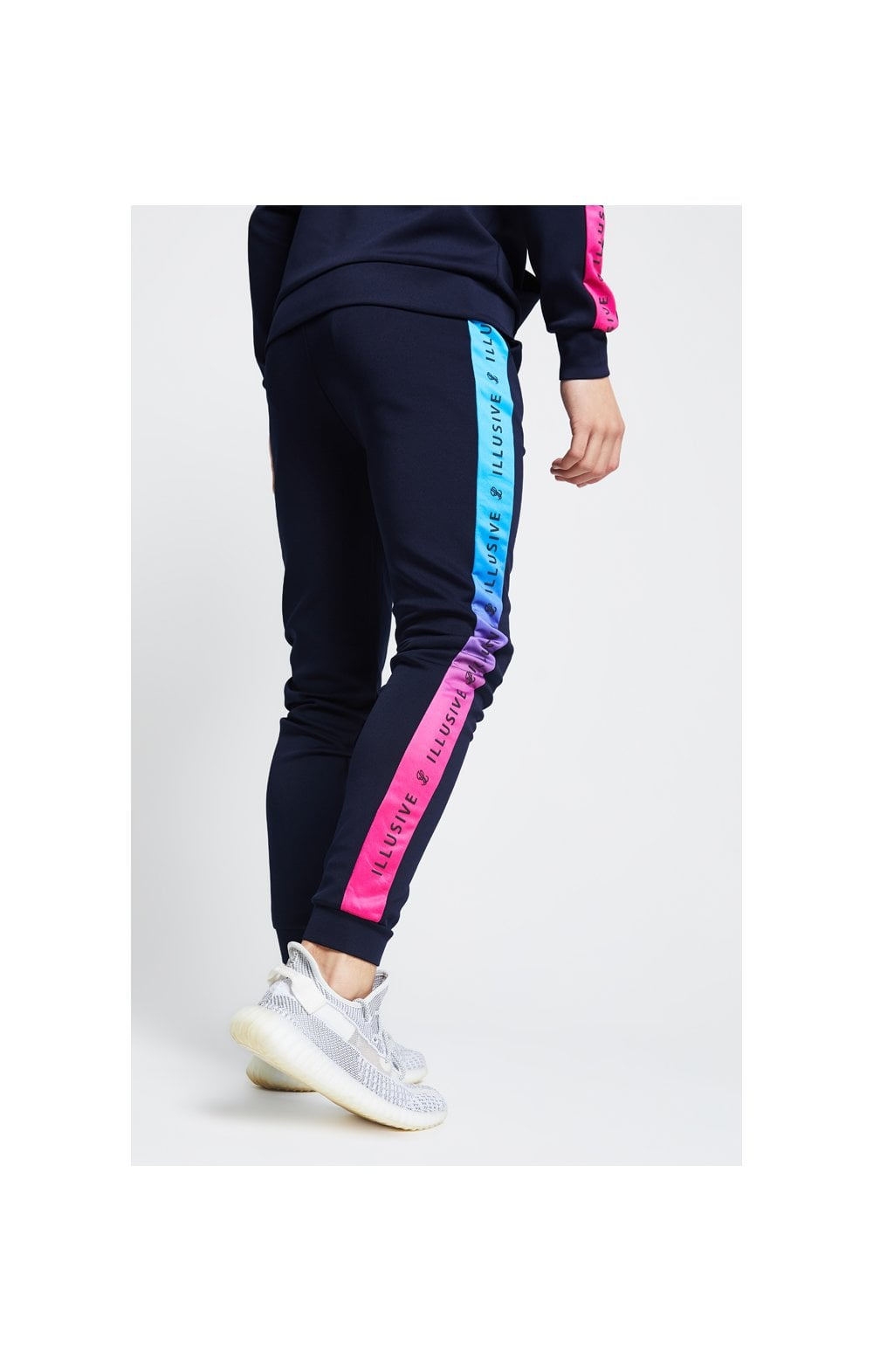 Illusive London Fade Panel Cuffed Joggers - Navy & Pink (3)