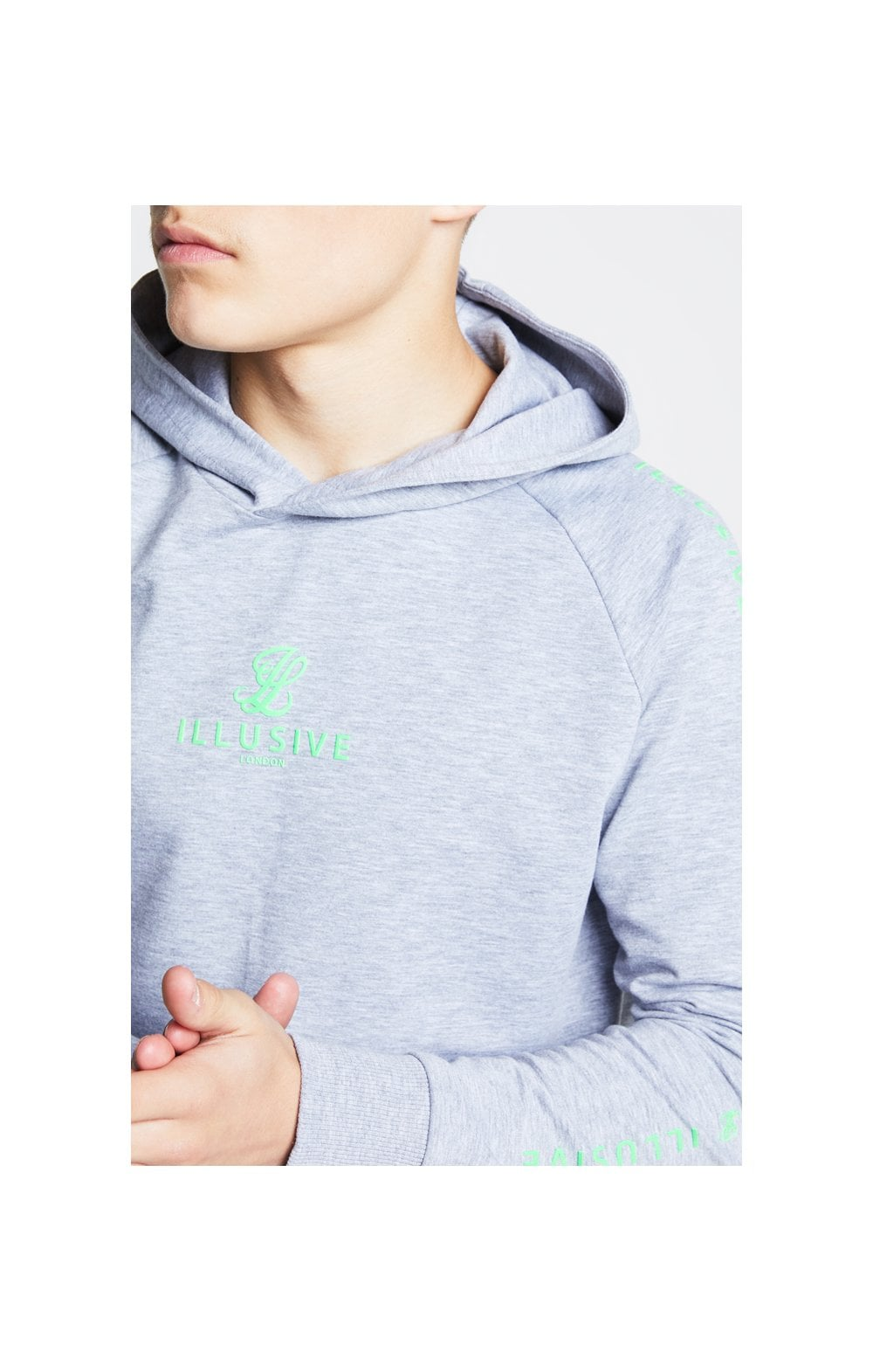 Illusive London Overhead Hoodie - Grey & Neon Green (1)