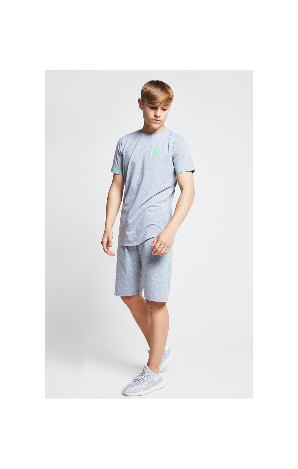 Load image into Gallery viewer, Illusive London Tape Jersey Shorts - Grey & Neon Green (3)