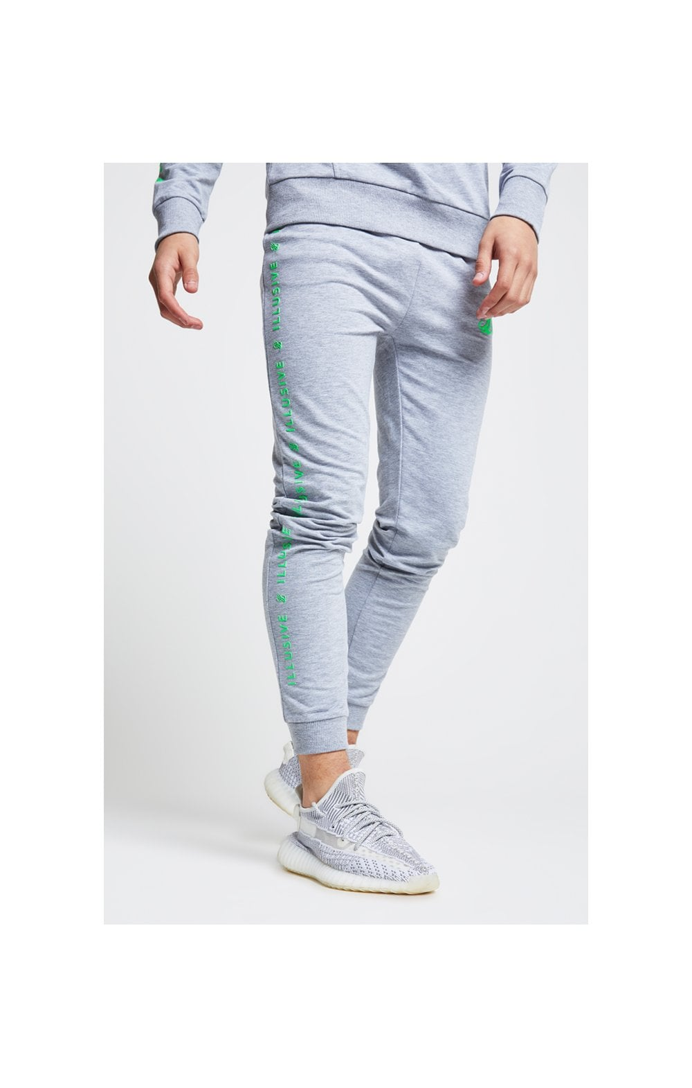 Load image into Gallery viewer, Illusive London Tape Cuffed Joggers - Grey & Neon Green (1)