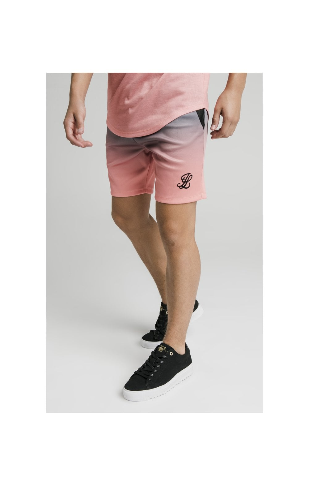 Illusive London Poly Fade Shorts - Grey & Peach