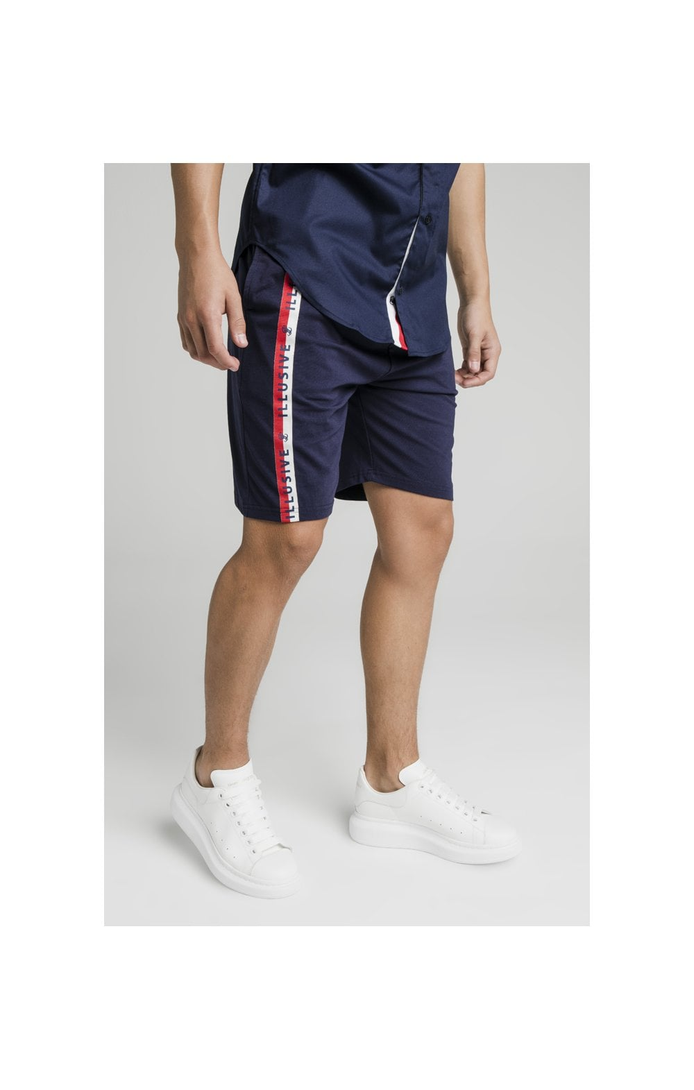 Load image into Gallery viewer, Illusive London Side Tape Jersey Shorts - Navy (1)