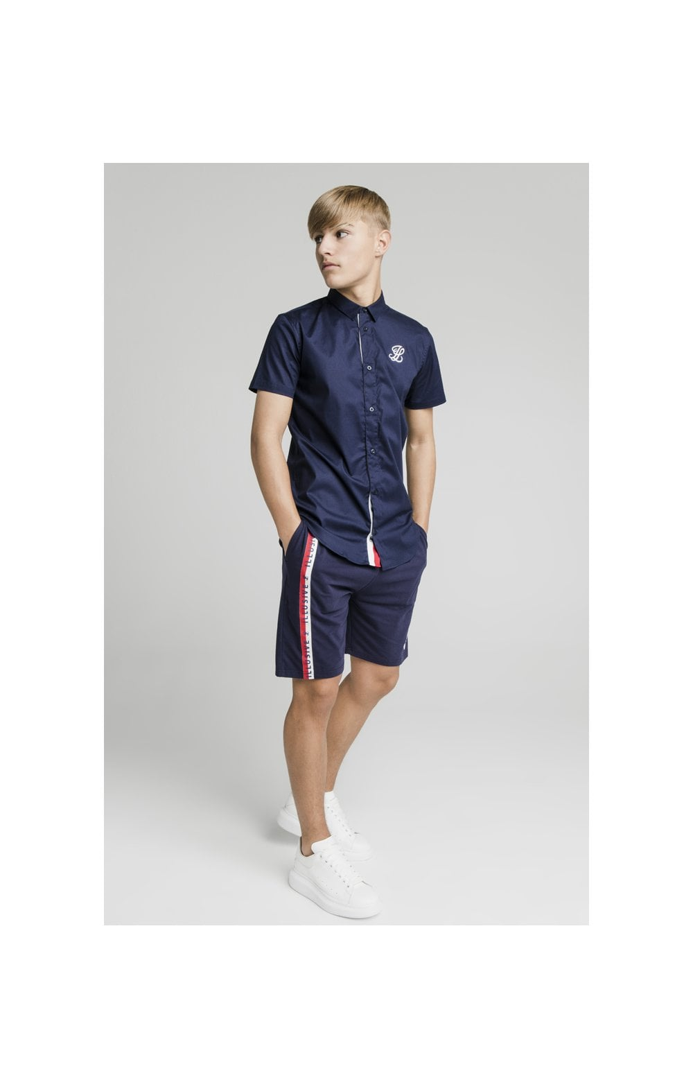 Load image into Gallery viewer, Illusive London Side Tape Jersey Shorts - Navy (5)