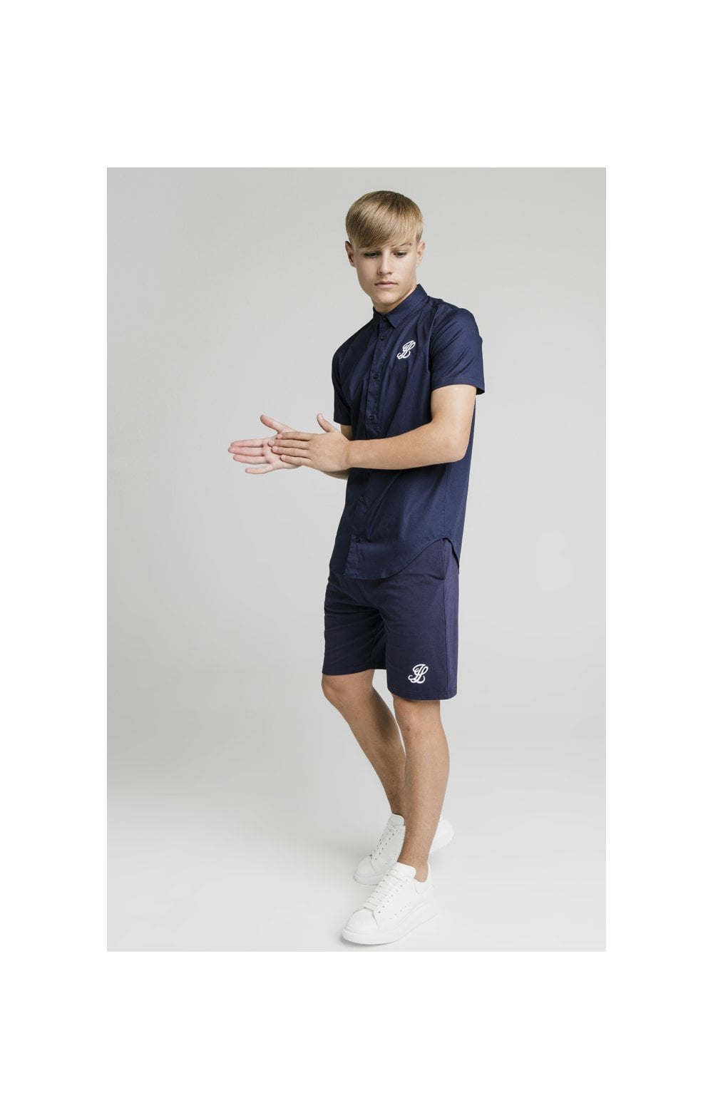 Load image into Gallery viewer, Illusive London Side Tape Jersey Shorts - Navy (6)