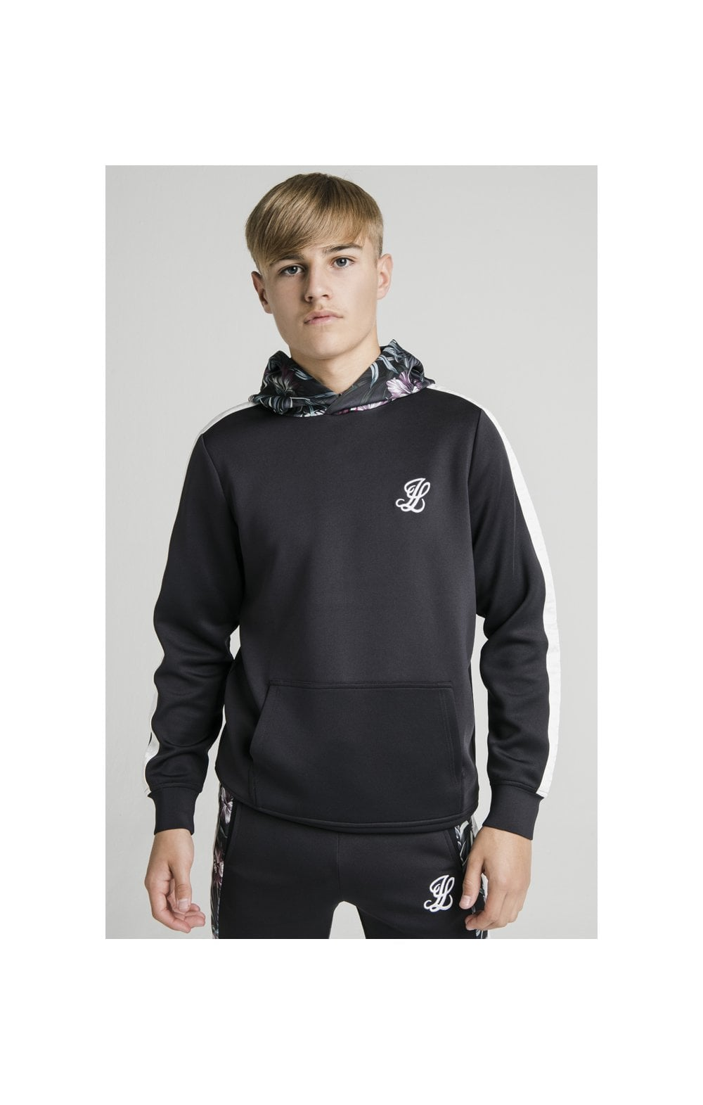 Load image into Gallery viewer, Illusive London Dark Tropical Taped Hoodie - Navy