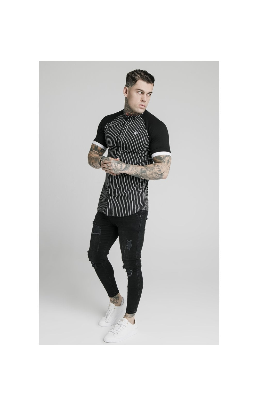 Load image into Gallery viewer, SikSilk S/S Raglan Inset Cuff  Shirt - Black & White (4)