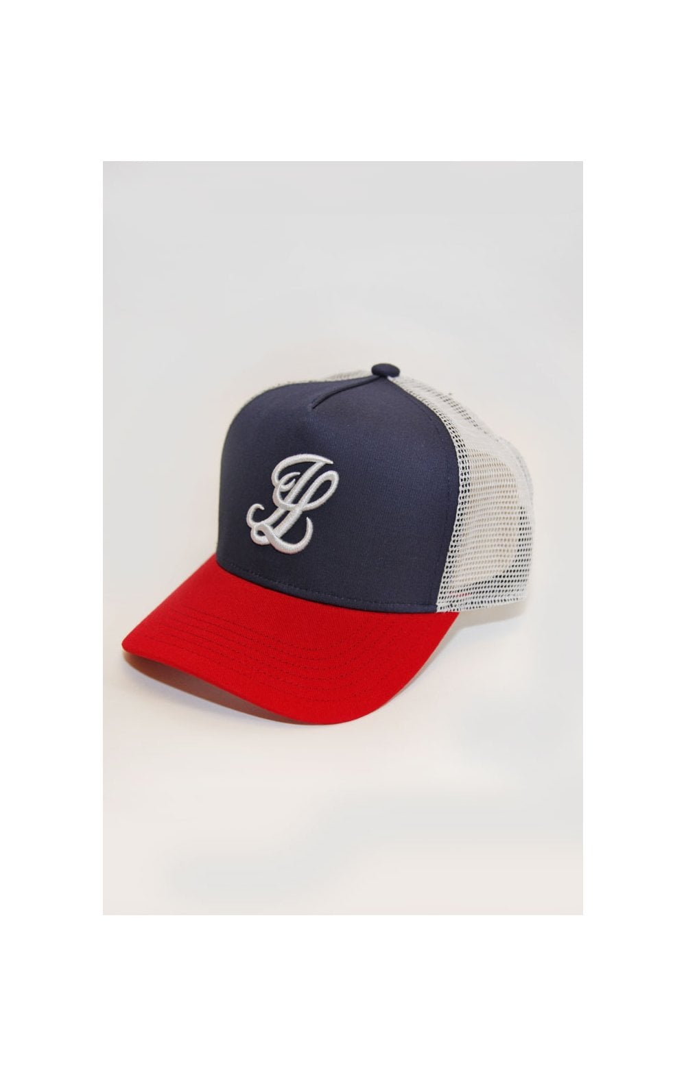 Load image into Gallery viewer, Illusive London Mesh Trucker - Navy, Red & White