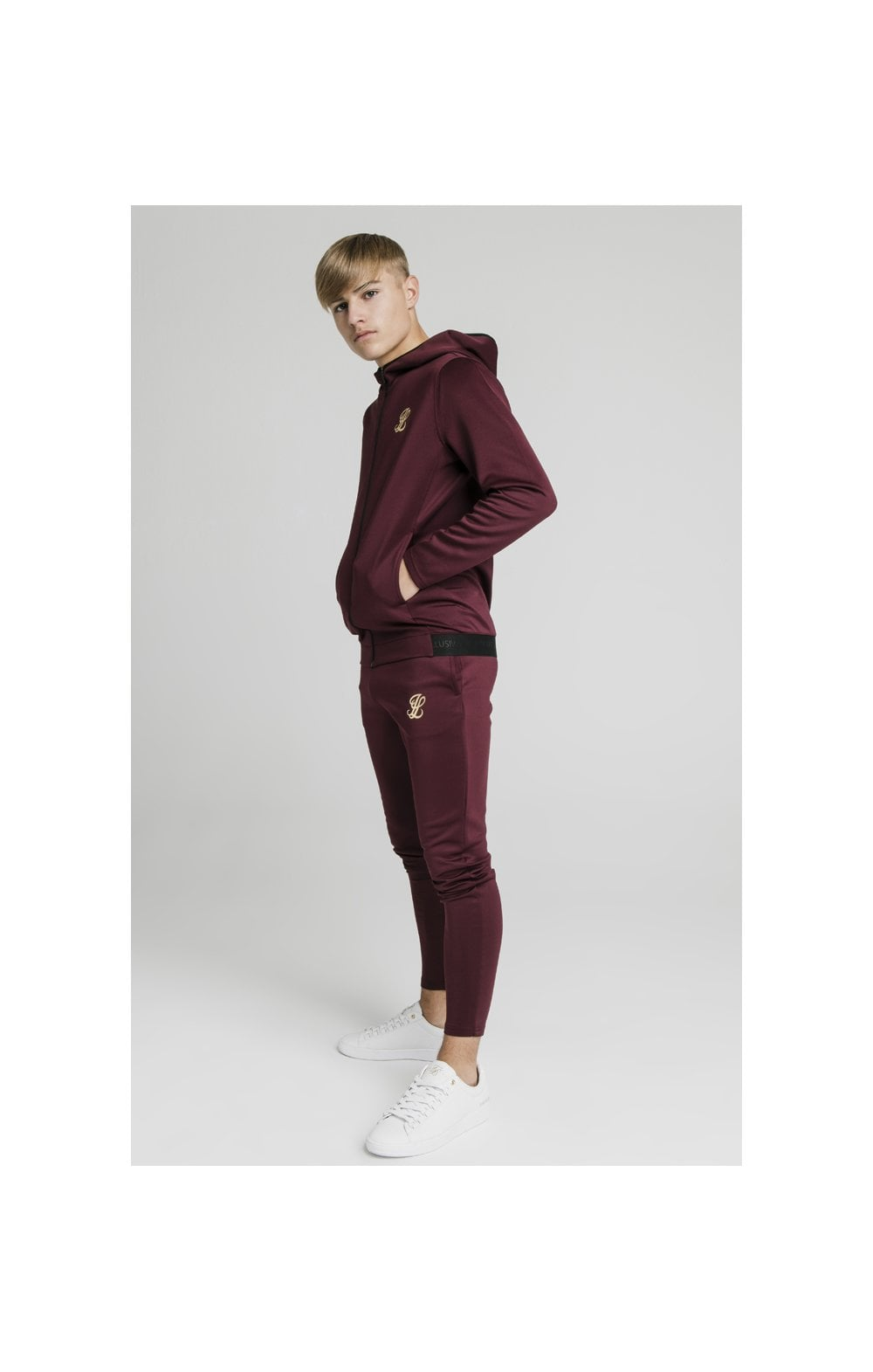 Load image into Gallery viewer, Illusive London Agility Zip Through Hoodie - Burgundy (3)