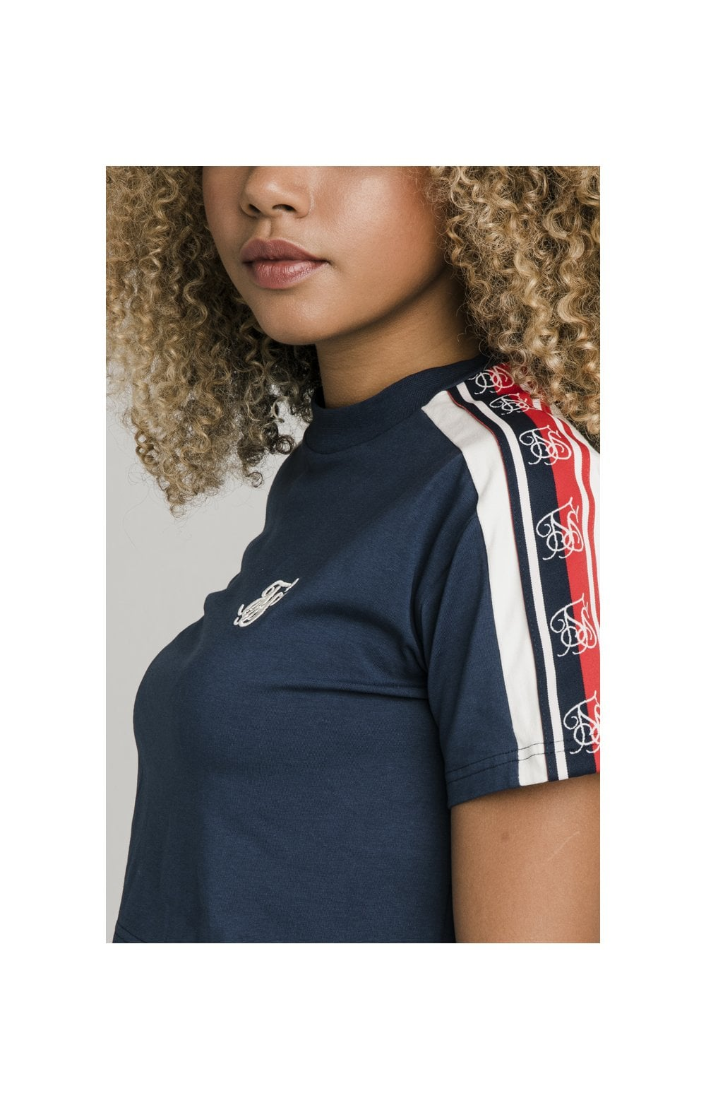 Load image into Gallery viewer, SikSilk Classic Tape Crop Tee - Navy (1)