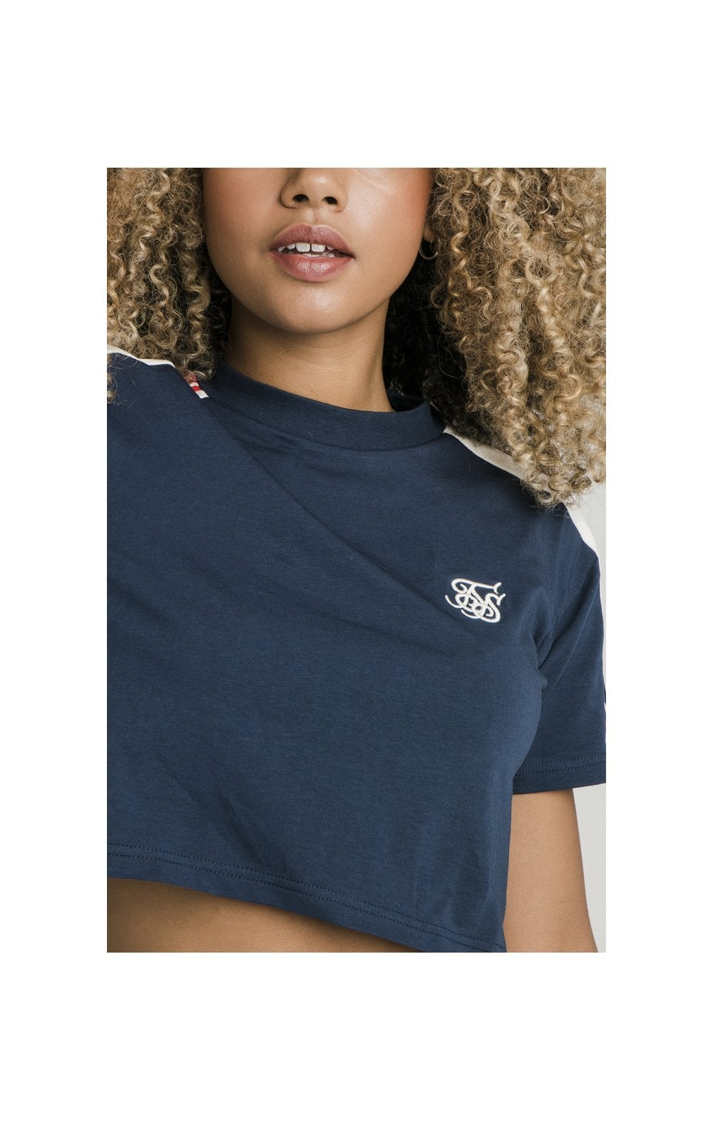 Load image into Gallery viewer, SikSilk Classic Tape Crop Tee - Navy (2)