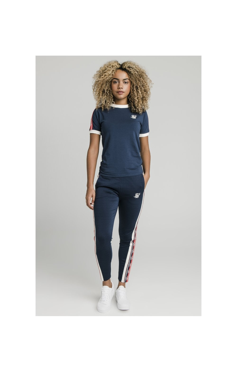 Load image into Gallery viewer, SikSilk Classic Tape Ringer Tee - Navy (4)