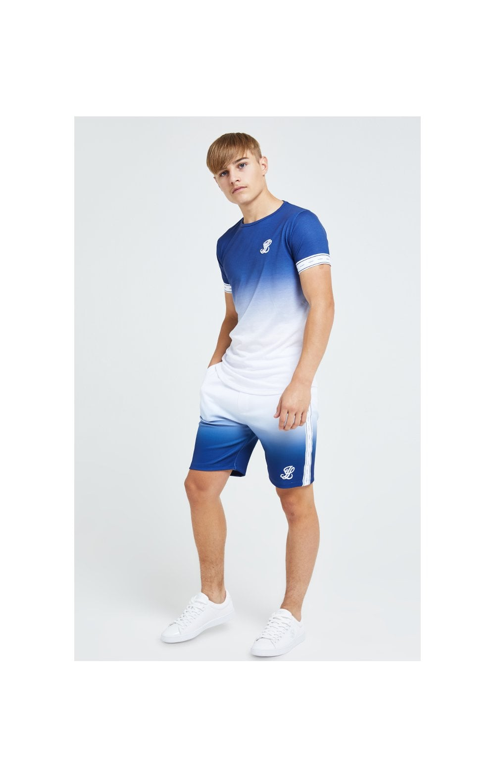 Illusive London Fade Poly Shorts - Indigo & White (2)