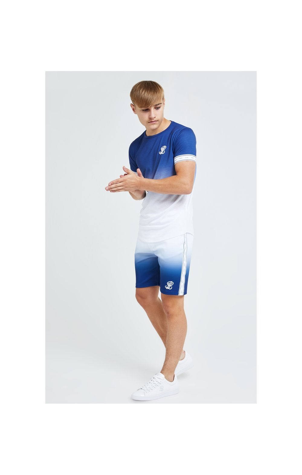 Illusive London Fade Poly Shorts - Indigo & White (4)