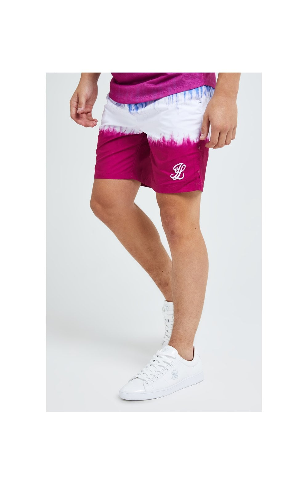 Load image into Gallery viewer, Illusive London Tie Fade Swim Shorts - Indigo, White & Pink